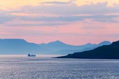 Beautiful summer sunset on Faroe Islands