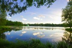 Beautiful summer sunset in the lake Stock Photo