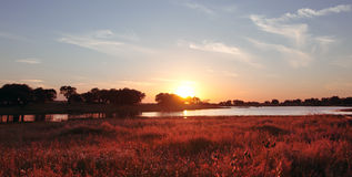 Beautiful summer sunset landscape. Meadows in Extremadura, Spain Royalty Free Stock Images