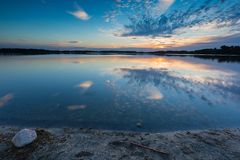 Beautiful summer sunset over lake in Poland Royalty Free Stock Images