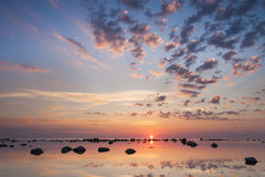 Beautiful summer sunset at sea royalty free stock images
