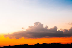 Beautiful summer sunset sky for background.  stock photo