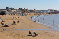 Beautiful summer sunshine drew visitors to the seaside at Weston-super-Mare Somerset Stock Photo