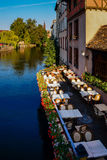 Beautiful summer terrace of cafe on the river Royalty Free Stock Photography