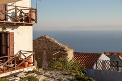 Beautiful Summer Terrace View of a Old Greek House at the Aegean Sea and the Sporades on the Greek Island of Alonissos, Ancient Gr stock image