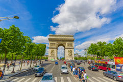 Beautiful summer view of Champs Elysees and Arc de Royalty Free Stock Photo