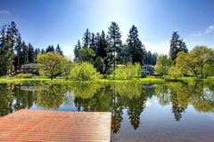 Beautiful summer view of lake from dock. Beautiful view of lake and countryside houses from private dock on a sunny summer day Stock Image