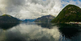 Beautiful summer view of Norwegian fjord. Royalty Free Stock Photo
