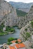 Omis town and Cetina river. Beautiful summer view on Omis town and Cetina river in Croatia royalty free stock photos