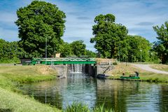 Road crossing with bridge across the Gota canal royalty free stock images