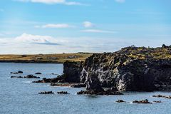 Summer view from the west coastline of Iceland. Beautiful summer view of the west coastline of Iceland, in summer sunshine and blue sky and water. A small royalty free stock images
