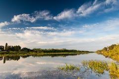 Beautiful summer water landscape in sunbeam Stock Photo