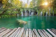 Beautiful summer waterfall. Plitvice National Park, Croatia royalty free stock images