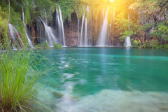 Beautiful summer waterfalls. Plitvice National Park, Croatia stock photo