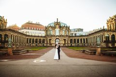 Beautiful summer wedding that took place in the old city with wonderful architecture royalty free stock image