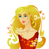Beautiful summer woman. With long hair Stock Photo
