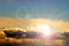 Beautiful sun behind the clouds Royalty Free Stock Photos