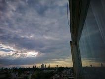 Beautiful sun blue sky in mi city