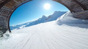 Beautiful Sun out of the Tunnel of Ski Resort Solden Austria Stock Photo