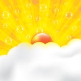 Beautiful sun ray in the clouds orange background Stock Photography