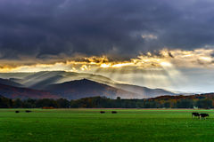 Beautiful sun rays through the clouds over mountains Stock Photos