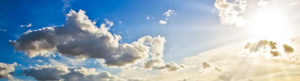Beautiful sun rays in the sky Stock Images