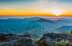 Beautiful sun rise. On top of the mountain Royalty Free Stock Photography