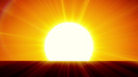 Beautiful Sun Rising over Horizon. 3d animation of the Sunrise. HD 1080.  stock illustration