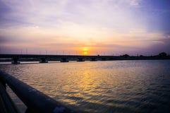 Sun rising. A beautiful sun rising at riverfront of Ahmedabad, Gujarat, India royalty free stock images