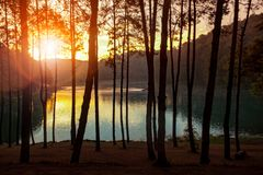 beautiful sun rising skies at pang ung water reservoir lake meahong sorn northern of thailand most popular traveling destination stock image