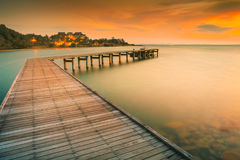 Beautiful sun rising sky of khao laem ya national park in rayong Royalty Free Stock Photography