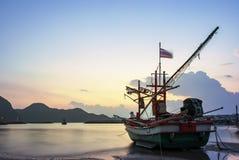 Beautiful sun rising sky and local fishery boat at klong warn be stock photography
