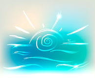 Beautiful sun and sea waves on colorful background with neon lights, vector illustration Stock Image