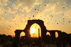 Beautiful sun set at Qutub Minar complex, Delhi, India Stock Images