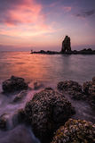 Beautiful Sun Set Sky at Sea Coast in Laem Chabang Chonburi Eastern of Thailand Stock Image