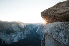 Sun star over Half Dome Yosemite from Glacier Point Stock Photos