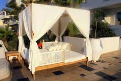 Beautiful sunbed on terrace, Crete, Greece Royalty Free Stock Photo