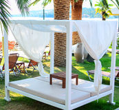 Beautiful sunbeds on beach Stock Photography