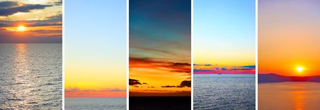 Beautiful sundowns over sea royalty free stock images