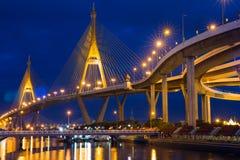 Beautiful sunet view of Bhumibol Bridge,Thailand Stock Photo