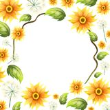 A Beautiful Sunflower Frame. Illustration Royalty Free Stock Photos