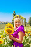 Beautiful Sunflower girl Stock Photos