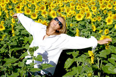 Beautiful Sunflower Woman. In the sun Royalty Free Stock Images