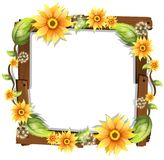 Beautiful Sunflower on Wooden Frame. Illustration Royalty Free Stock Image
