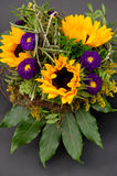 Beautiful sunflowers bouquet on black Stock Photo