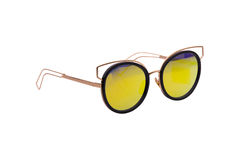 Beautiful sunglasses with colored glasses. Beautiful sunglasses with colored yellow glasses, fashion stock photo
