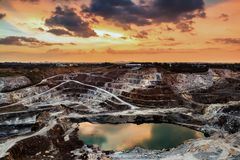 Aerial view of opencast mining quarry royalty free stock images