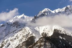 Beautiful sunlight on a Mountain Landscape, Dolomites, Italy stock photos