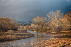 Beautiful sunlit valley in Bosque del Apache NWR. Royalty Free Stock Images