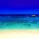 Beautiful Sunny Beach Coastline with Panorama Tranquility Bay. Stock Photos